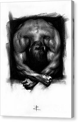 Canvas Print featuring the drawing Despondent by Paul Davenport