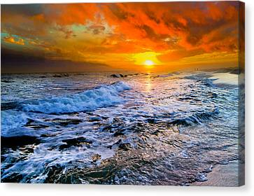 Canvas Print featuring the photograph Destin Beach Florida-dark Red Sunset Seascape Photography by eSzra