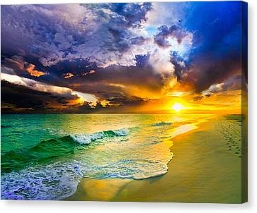 Destin Florida-purple Sunset Over The Beach Art Prints Canvas Print