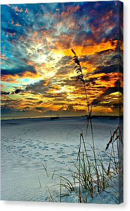 Canvas Print featuring the photograph Destin Florida White Sand Landscape-fiery Red Sky Sunset by Eszra Tanner