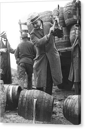 Destroying Barrels Of Beer Canvas Print by Underwood Archives