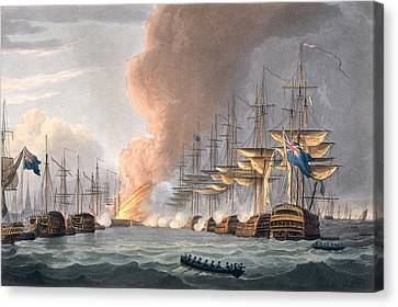 Destruction Of The Danish Fleet Canvas Print by Thomas Whitcombe