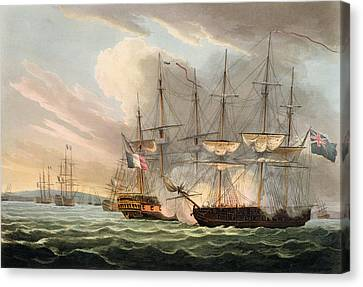 Destruction Of The French Fleet Canvas Print by Thomas Whitcombe
