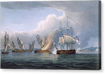 Destruction Of The French Frigates Canvas Print by Thomas Whitcombe