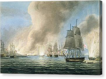 Destruction Of The Turkish Fleet Canvas Print by Thomas Whitcombe