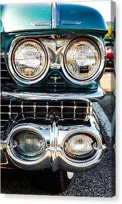 Detail - 1959 Cadillac Sedan Deville Series 62 Grill Canvas Print by Jon Woodhams