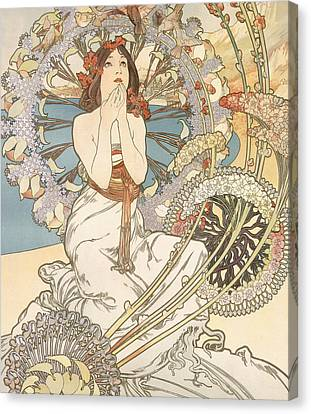 Detail From Monaco  Monte Carlo Canvas Print by Alphonse Marie Mucha