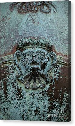 Detail Of A Bronze Mortar Canvas Print by Edward Fielding