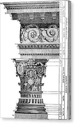 Detail Of A Corinthian Column And Frieze II Canvas Print by Suzanne Powers