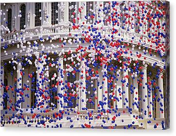 Detail Of Capitol Building With Red Canvas Print by Panoramic Images