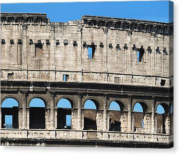 Detail Of Colosseum Facade Canvas Print by Kiril Stanchev