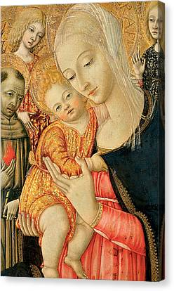 Detail Of Madonna And Child With Angels Canvas Print by Matteo di Giovanni di Bartolo