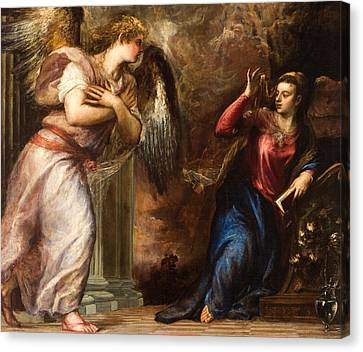 Detail Of The Annunciation Canvas Print by Titian