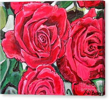 Detail Of The Delight Of Grandma's Roses Painting Canvas Print by Kimberlee Baxter