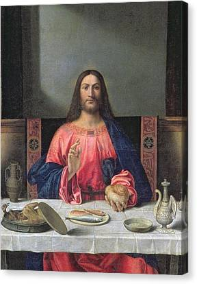 Detail Of The Supper At Emmaus Canvas Print by Giovanni Bellini