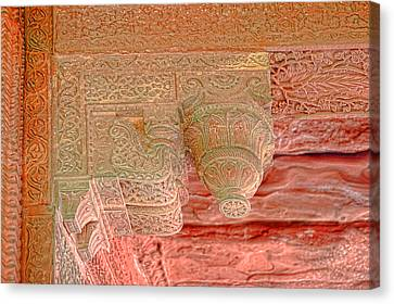 Detailed Ceiling Support At Fatepur Sikri Palace Canvas Print by Linda Phelps
