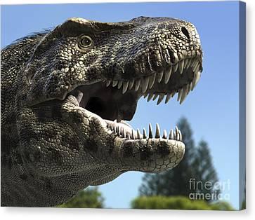 Detailed Headshot Of Tyrannosaurus Rex Canvas Print by Rodolfo Nogueira
