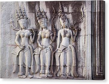 Details Of Relief At Angkor Wat Canvas Print by Keren Su