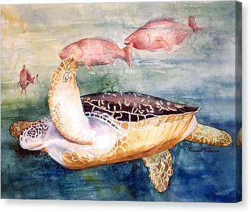 Canvas Print featuring the painting Determined - Loggerhead Sea Turtle by Roxanne Tobaison