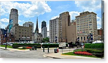 Detroit As Seen From Comerica Canvas Print by Frozen in Time Fine Art Photography