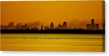 Detroit At Dawn Canvas Print