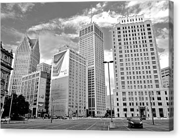 Detroit Black And White Canvas Print by Frozen in Time Fine Art Photography