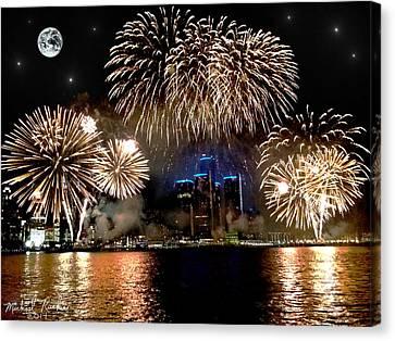 Detroit Fireworks Canvas Print by Michael Rucker