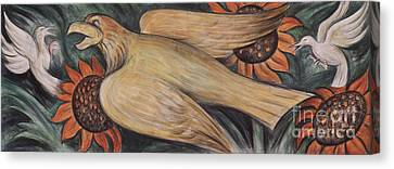 Detroit Industry    Detail From The West Wall Canvas Print by Diego Rivera