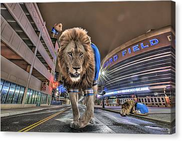 Destruction Canvas Print - Detroit Lions At Ford Field by Nicholas  Grunas