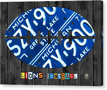 Lions Canvas Print - Detroit Lions Football Vintage License Plate Art by Design Turnpike