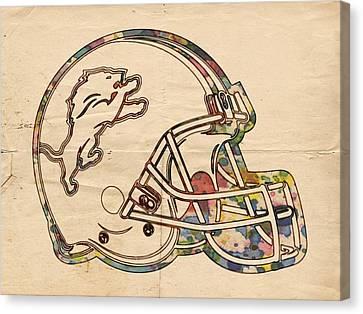 Detroit Lions Helmet Vintage Canvas Print by Florian Rodarte