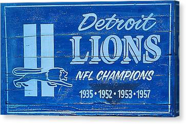 Detroit Lions Sign Canvas Print by Bill Cannon
