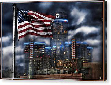 Detroit Mi Usa Flag Canvas Print by Nicholas  Grunas