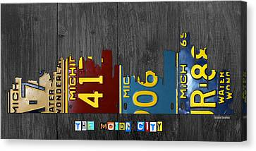 Detroit Michigan City Skyline License Plate Art The Motor City Canvas Print