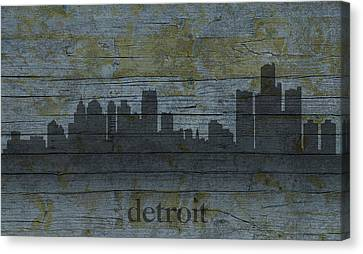 Detroit Michigan City Skyline Silhouette Distressed On Worn Peeling Wood Canvas Print by Design Turnpike