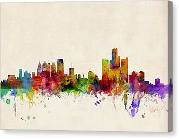 Silhouettes Canvas Print - Detroit Michigan Skyline by Michael Tompsett