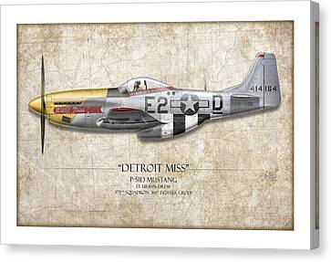 Detroit Miss P-51d Mustang - Map Background Canvas Print by Craig Tinder