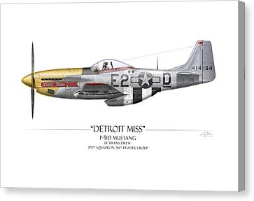 Detroit Miss P-51d Mustang - White Background Canvas Print by Craig Tinder