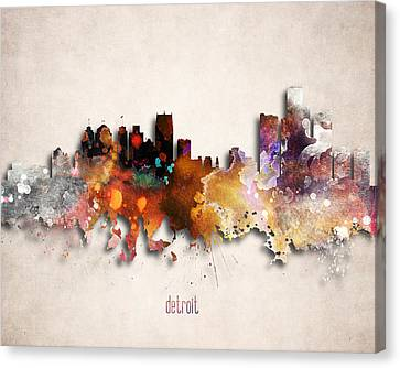 Detroit Painted City Skyline Canvas Print by World Art Prints And Designs