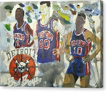 Nba Championship Canvas Print - Detroit Pistons Bad Boys  by Tyrone Scott