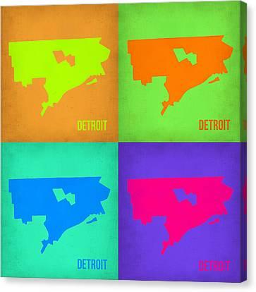 Detroit Pop Art Map 1 Canvas Print by Naxart Studio