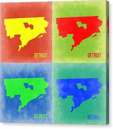 Detroit Pop Art Map 2 Canvas Print by Naxart Studio