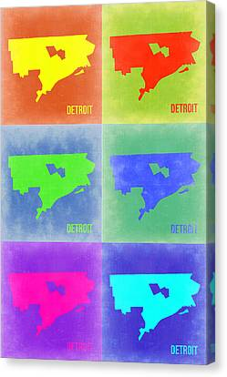 Detroit Pop Art Map 3 Canvas Print by Naxart Studio