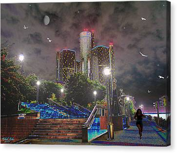 Detroit Riverwalk Canvas Print by Michael Rucker
