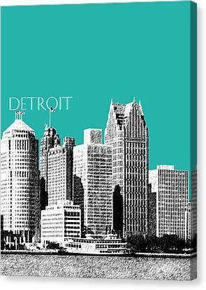 Detroit Skyline 3 - Teal Canvas Print