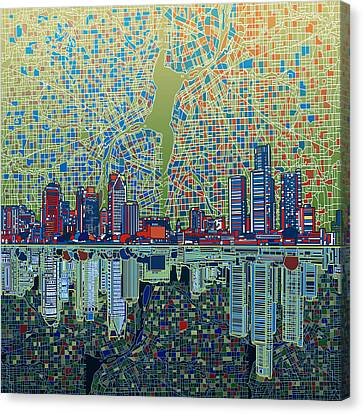 City Streets Canvas Print - Detroit Skyline Abstract 3 by Bekim Art