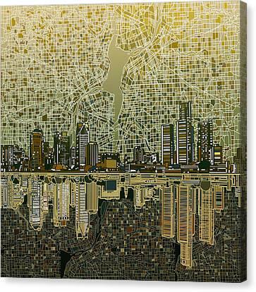 Detroit Skyline Abstract 4 Canvas Print
