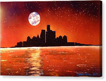 Canvas Print featuring the painting Detroit Skyline by Michael Rucker