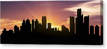 Detroit Skyline Panorama Sunset Canvas Print by Aged Pixel