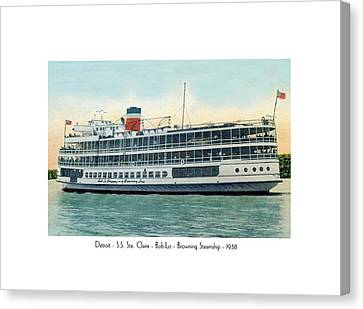 Detroit - Ss Sainte Claire - Boblo - Browning Steamship - 1938 Canvas Print